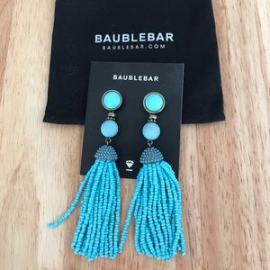 BaubleBar Turquoise Tassel Earrings